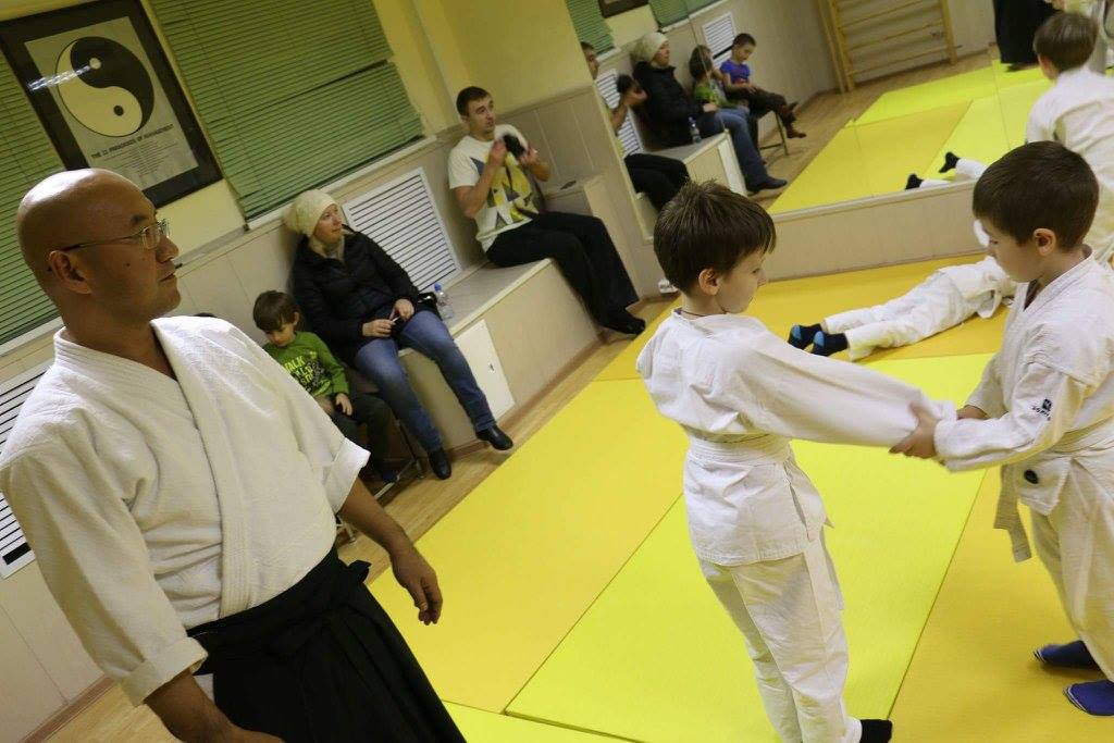 Aikido lesson for kids and kyu exam in Moscow dojo